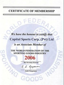 Capital World Federation of Sporting Goods Industry Certificate
