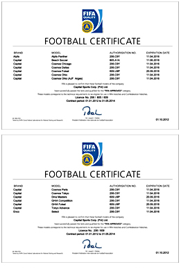 FIFA Approved Licensing Certificate